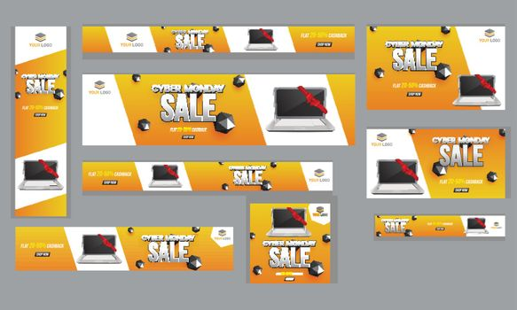 Advertising poster, banner and template set with 20-50% discount offer, laptop and abstract elements for Cyber Monday Sale.