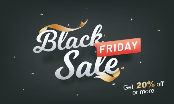 Stylish lettering Black Friday Sale with 20% Off, advertising banner or poster design.