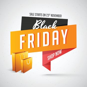 Black Friday Sale tag or label with shopping bags on gray background. Advertising template or flyer design.