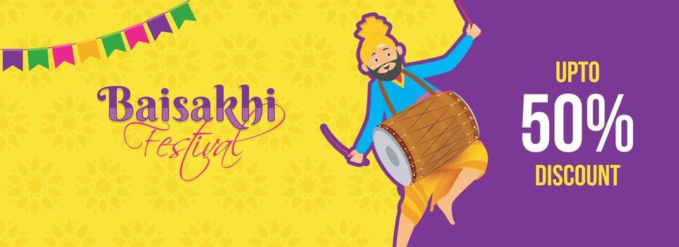 Punjabi man dancing with dhol (drum) on the occasion of baisakhi