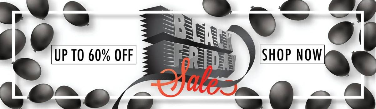 Website header or banner design with 60% discount offer and 3d text Black Friday on balloons decorated background.