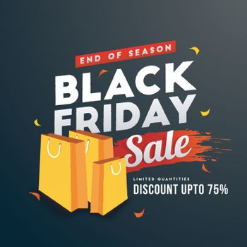 Black Friday sale template or flyer design with 75% discount offer,shopping bags on black background.