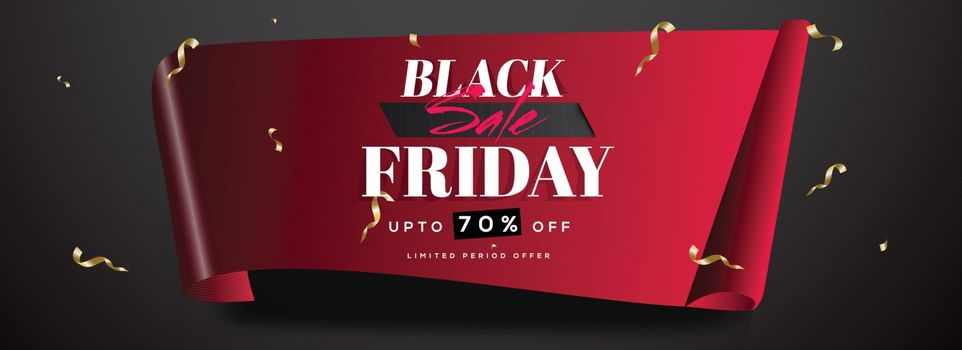 Website header or banner design in curl paper style with 70% discount offer for Black Friday Sale.