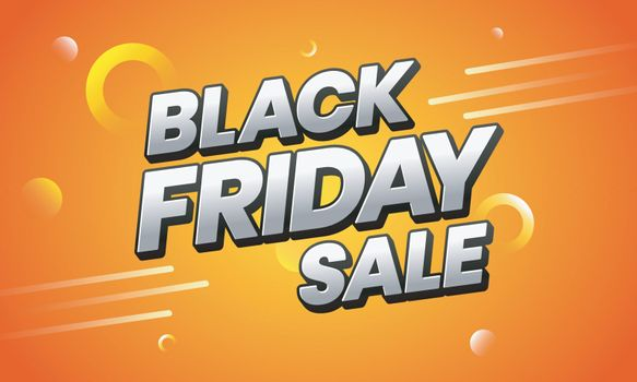 Advertising banner or poster design with Black Friday Sale text on orange abstract background.
