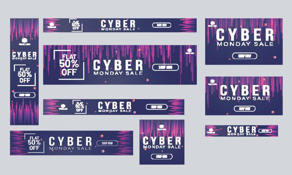 Website banner or poster collection flat 50% discount offer for Cyber Monday Sale.