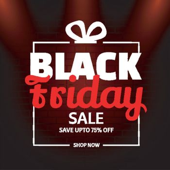 Website template or flyer design with 75% discount offer for Black Friday Sale.