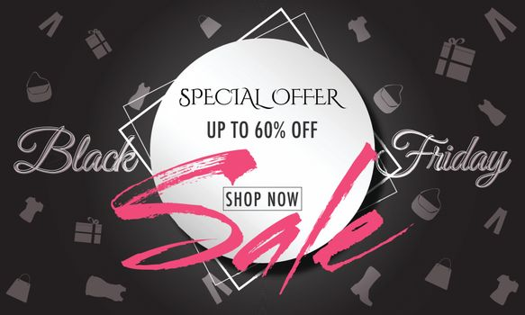 Stylish text Black Friday Sale with 60% discount offer on shopping elements decorated background.