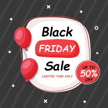 UpTo 50% off for Black Friday Sale banner or poster design decorated with balloons.