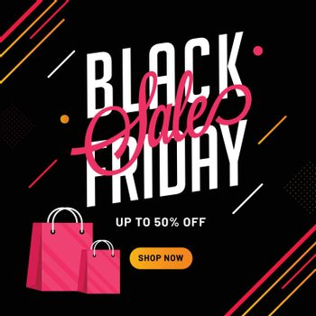 Flat style template or flyer design with 50% discount offer and shopping bags for Black Friday sale.