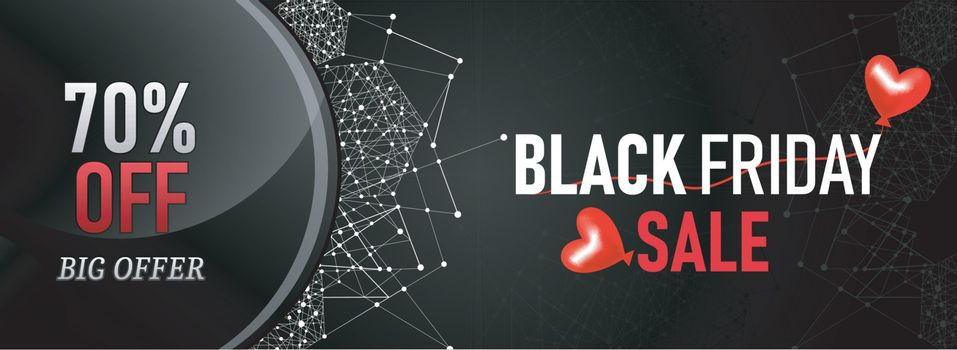 Black Friday sale website banner design with 70% discount offer on shiny grey blockchain background.