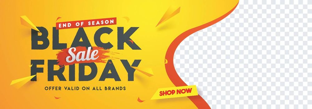Black Friday sale website banner design with space for your product image.