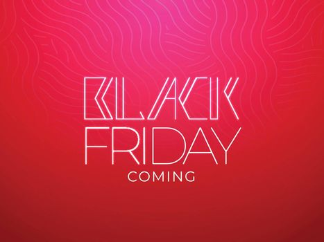 Stylish Black Friday Coming message text on red wave seamless background. Can be used as poster or banner design.
