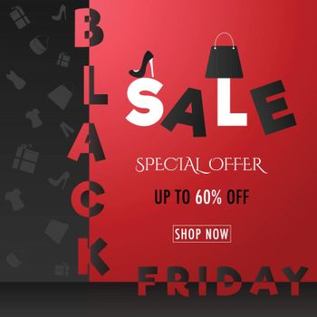 Creative text Black Friday Sale with 60% discount offer on shiny red and black background.