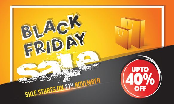 Creative grunge text Black Friday Sale with 40% discount offer on shiny orange and black background.
