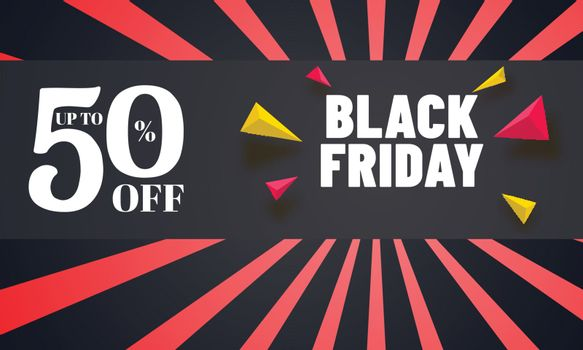 Black Friday sale poster or banner design with upto 50% discount offer and geometric elements on rays background.