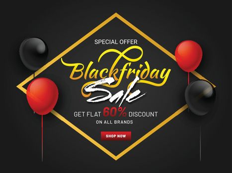 Stylish text Black Friday Sale with 60% discount offer on black background decorated with red and black balloons.