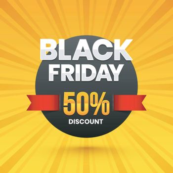 Black Friday sale banner or poster design with 50% discount offer on yellow rays background.