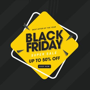 Black Friday Sale with 50% discount offer,  abstract elements on black background.