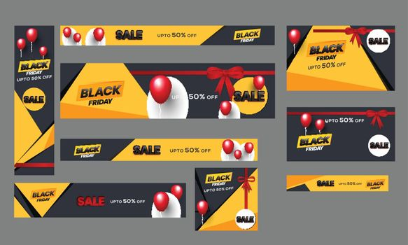 Black Friday sale poster, banner and template set with upto 50% discount offer.