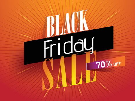 Advertising banner or poster design with 70% discount offer for Black Friday Sale.