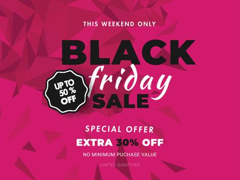 Website banner or poster design with 50% discount offer on pink abstract background for Black Friday Sale.