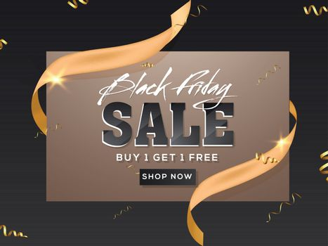 Black Friday Sale text with golden ribbon on black background for Advertising poster design.