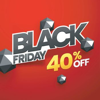 Black Friday poster design with 40% discount offer and 3d abstract elements on red background.