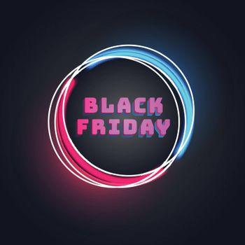 3D Pink text Black Friday in circular frame on black background for advertisement concept.