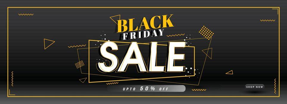 Website header or banner design with 50% discount offer for Black Friday Sale.