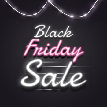 Neon text Black Friday Sale on glossy black background for advertising concept.