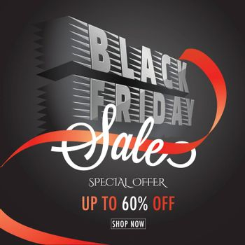 3D, creative text Black Friday on black background with 60% discount offer. Advertisement template or flyer design.