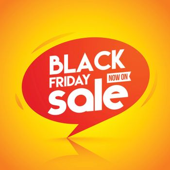 Now On Black Friday Sale tag on glossy orange background can be used as template or flyer design.
