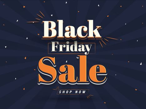 Flat style website poster or flyer design with lettering of Black Friday Sale on blue ray background.