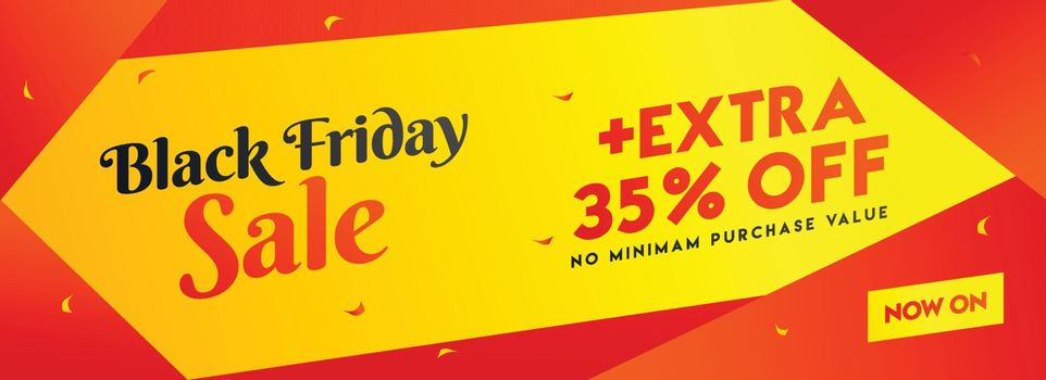 Black Friday sale header or banner design with extra 35% discount offer for advertising concept.