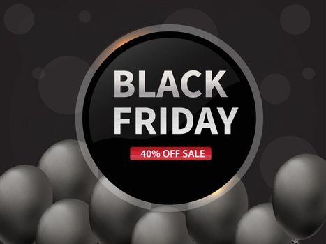 Flat 40% discount offer for Black Friday Sale banner or poster design decorated with grey balloons.