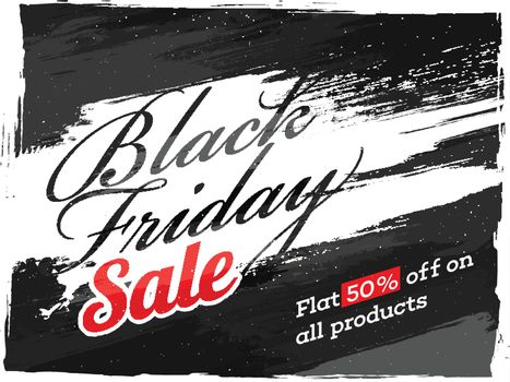 Creative poster or banner design with 50% discount offer for Black Friday Sale.