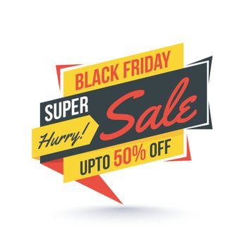 Super sale tag or label with 50% discount offer on white background for Black Friday.