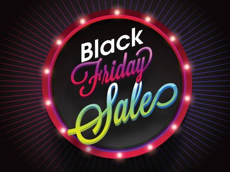 Stylish text Black Friday Sale on marquee light frame, advertising banner or poster design.