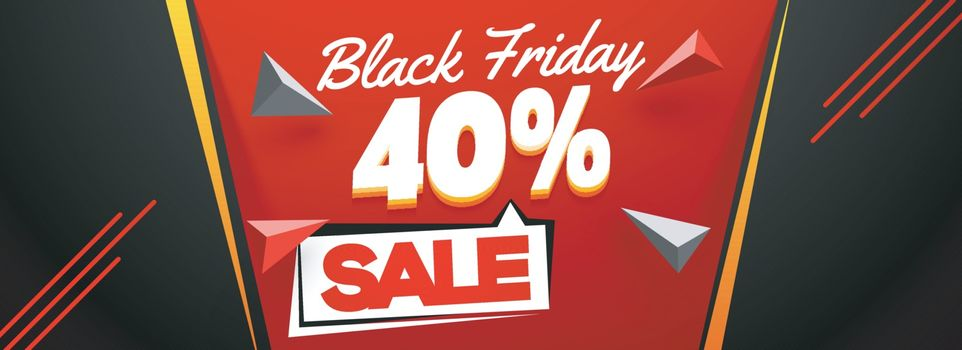 Black Friday Sale banner or header design with 40% discount offe