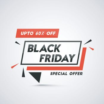 Sale tag or label on glossy white background with special offer of 60% on Black Friday Sale.