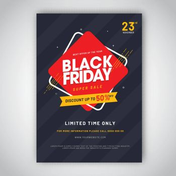 Advertising template or flyer design with 50% discount offer and contact details for Black Friday Sale.