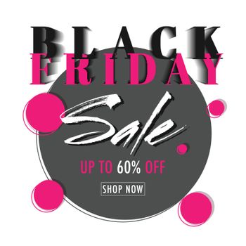 Sale template design with 60% discount offer for Black Friday.