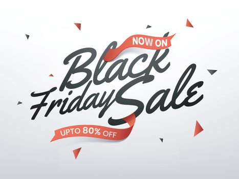 Stylish lettering of Black Friday Sale with upto 80% offer, advertising banner or poster design.