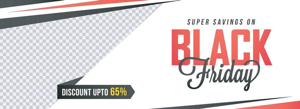 Website header or banner design with 65% discount offer on Black Friday Sale with space for your product image.
