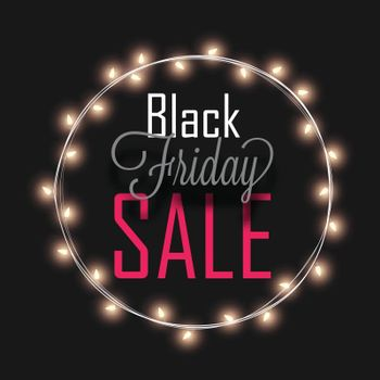 Black Friday Sale text in circular lighting frame on black background, Advertising template or poster design.