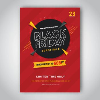 Limited time offer, discount up to 50% off for Black Friday Sale template design.