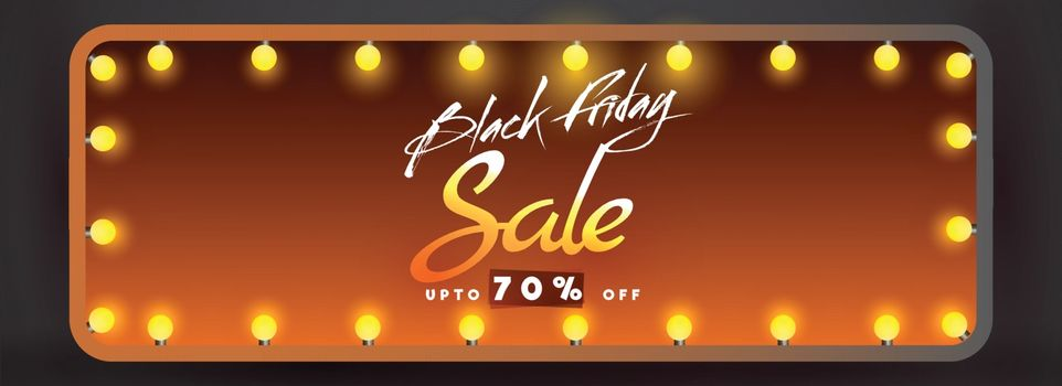 Black Friday Sale banner or header design with upto 70% discount offer in glossy lighting frame.