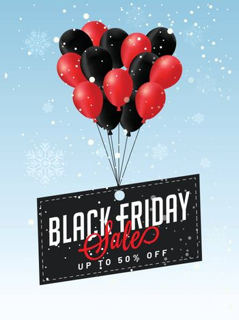Illustration of red and black balloons flying on snowfall background, 50% discount offer for Black Friday Sale.