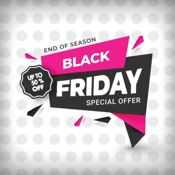 Black Friday Sale template or poster design with 50% discount offer on dotted background.