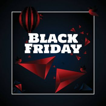 Black Friday template or poster design with 3d abstract elements.
